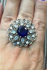 Anel Pedra Azul e Folhas - Prata Turca