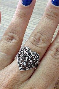 Anel Coração borboleta - Prata de Lei 925