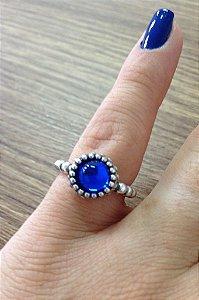 Anel Florzinha Pedra Azul - Prata de Lei 925