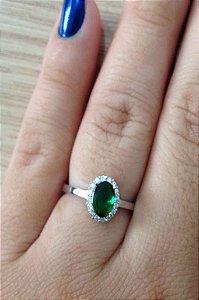 Anel Pedra Verde - Prata de Lei 925