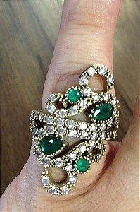 Anel Pedras verdes e zircônias - Prata Turca