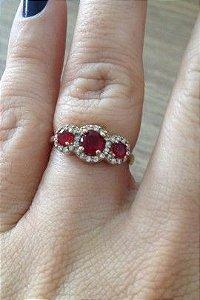Anel três Pedras Vermelhas  - Prata Turca