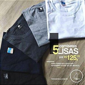 Kit 5 camisetas lisas