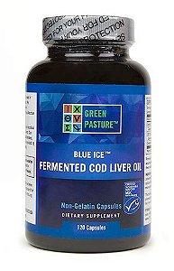 Óleo de Fígado de Bacalhau Fermentado BLUE ICE™ Fermented Cod Liver Oil, Green Pasture, 120 cápsulas