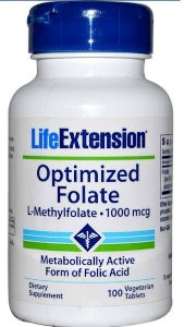 5-MTHF (5-Metiltetrahidrofolato) Optimized Folate, Life Extension, 1.000 mcg, 100 Veggie Tabs