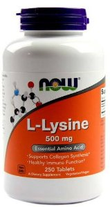L-Lysine, Now Foods, 500 mg - 250 Tabs