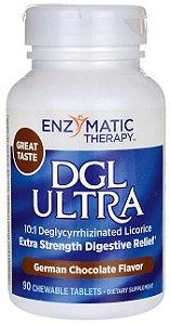 Alcaçuz DGL Ultra, Enzymatic Therapy, 90 comprimidos mastigáveis sabor Chocolate Alemão