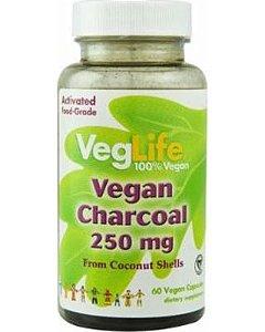 Carvão Ativado Vegano, VegLife, 250 mg, 60 Vegan Capsules