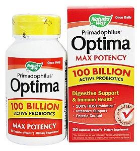 Primadophilus Optima Máxima potência 100 bilhões de probióticos, Nature's Way, 30 Cápsulas vegetais