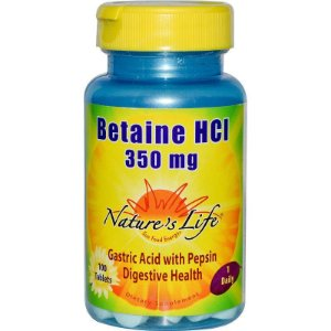 Betaina HCL, Nature's Life, 350 mg, 100 Tablets