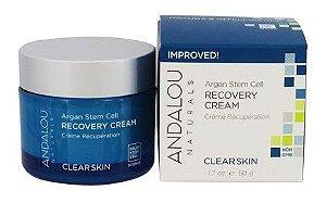 Creme de recuperação de Argan com células-tronco, pele mais clara, Andalou Naturals, 1.7 fl oz (50 ml)