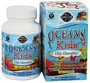DHA Mastigável para crianças com 3+ anos, Ocean Kids, Sabor Limão Berry, 120 Softgels Mastigáveis