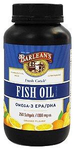 Omega 3 (Óleo de Peixe Fresco), Barlean's, sabor laranja, 1.000 mg, 250 Cápsulas
