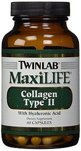 Colágeno Tipo II com Ácido Hialurônico, MaxiLife, Twinlab, 60 Capsules