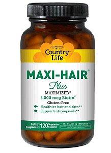 Maxi-Hair (Pele, cabelo e unhas com Time Release), sem glúten, Country Life, 120 Capsulas Vegetarianas