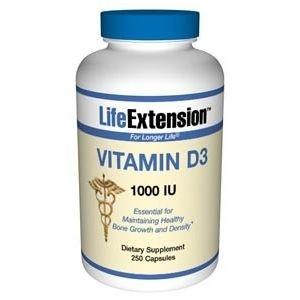 Vitamina D3, Life Extension, 1.000 IU, 250 Capsules