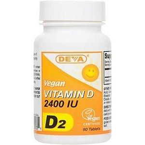 Vitamina D, D2, 100% Vegana, Deva, 2.400 UI, 90 Comprimidos