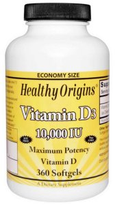 Vitamina D3, Healthy Origins, 10.000 UI, 360 Softgels