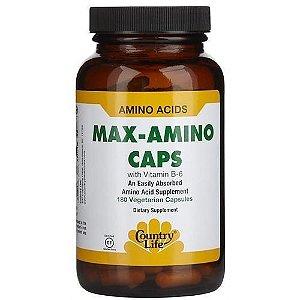 Max-Amino Caps, Sem Glutén + Vitamina B-6, Country Life,180 Veggie Caps