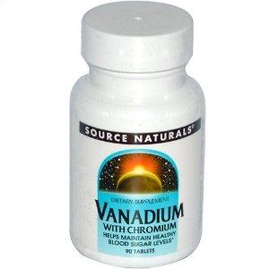 Vanádio com Cromo, Source Naturals, 1, 2 mg, 90 Tablets