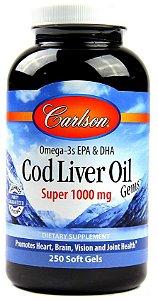 Óleo de Fígado de Bacalhau Norueguês, Carlson Labs,1.000 mg, 250 Soft Gels