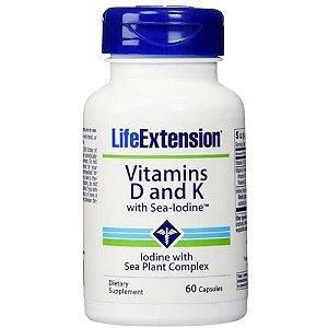 Vitaminas D e K com Iodo Marinho, Life Extension, 60 VCaps
