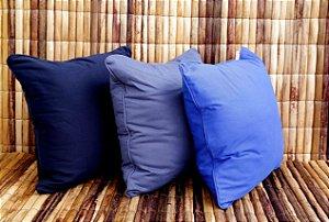 Almofada de Sarja Conjunto Triplo Tons de Azul