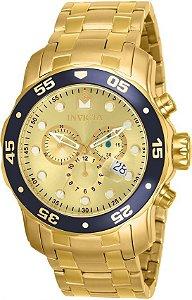 Relógio Invicta Masculino Pro Diver Dourado Modelo 80068