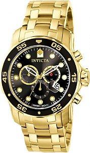 Relógio Invicta Masculino Pro Diver Dourado Modelo 0072