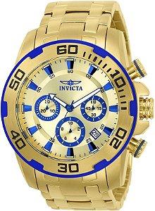 Relógio Invicta Masculino Pro Diver Mostrador Dourado com Detalhes Azuis 22320