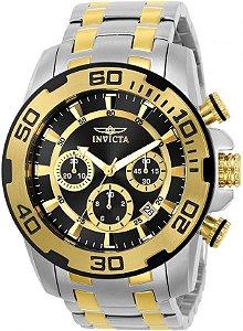 Relógio Invicta Masculino Pro Diver Prata com Detalhes Dourados e Fundo Preto 22322