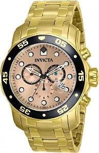 Relógio Invicta Pro Diver Masculino Dourado e Fundo Rosé Modelo 80063