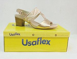 Sandália Usaflex Velour Dourada K9269B