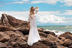 Vestido longo com manga Safira Doce Maria