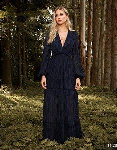 Vestido Doce Maria Longo Plissado Garden