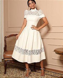 Vestido Branco Midi Doce Maria