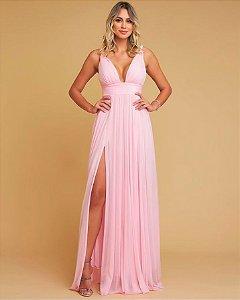 Vestido longo fluído Rosa