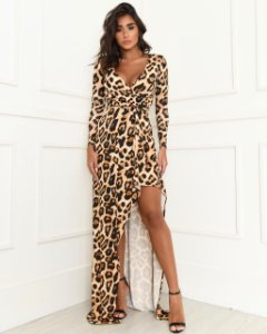 Vestido com Fenda Animal Print Dot