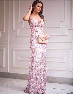 Vestido Rosa Longo Doce Maria