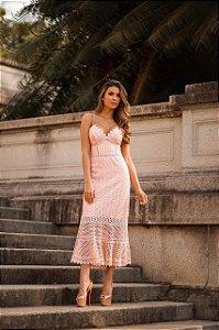 Vestido Midi em Guipir Rosa