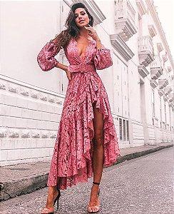 Vestido Midi em renda Salma Hayek