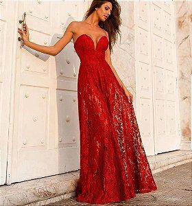 Vestido longo em renda Samara