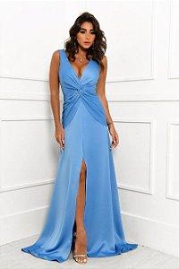 Vestido Longo Azul Celeste