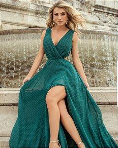 Vestido Longo Verde Esmeralda Julia