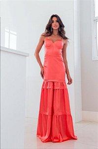Vestido Coral em Cetim