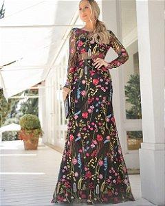 Vestido bordado em tule Floral