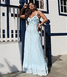 Vestido em renda longo Azul Serenity Doce Maria