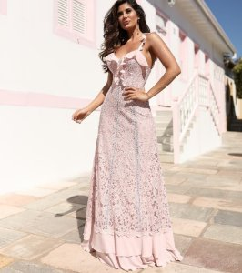 Vestido Longo Rose Doce Maria