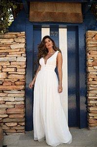 Vestido Longo em Tule Branco Doce Maria