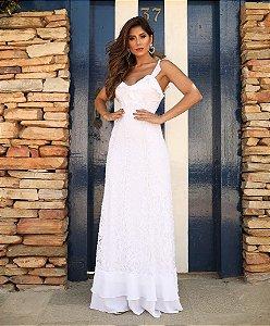 Vestido Longo em renda Doce Maria branco